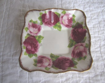 Vintage Royal Albert Old English Rose trinket dish bone china England shabby chic cottage decor