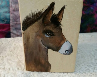 Hand painted donkey on a willow pencil holder