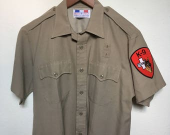 Vintage K-9 police Flying Cross, khaki uniform shirt, 60s 1960s retro vtg sheriff cop shirt, tan beige military uniform, CHIPS C.H.I.P.S.