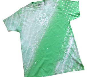 Unisex T-shirts Made-to-Order, Peace and Polka Dots Slanted, Bleached T-shirts, Choose color, Sizes SM - 4X