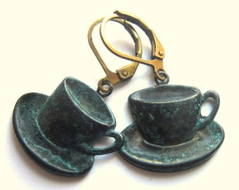 Teacup Earrings Verdigris Patina Cup And Saucer Boho Fashion Jewelry