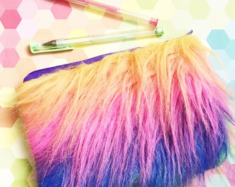 Rainbow unicorn hair furry clutch cosmetic bag pouch upcycled rainbow zipper topped bag