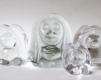 4 Glass Troll Figurines, Vintage Scandinavian Paperweight Family