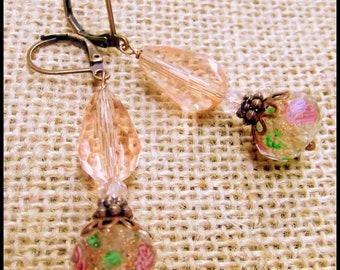 Romantic Rose Victorian Earrings, Lampwork Czech Rose Crystal, Downton Abbey Earrings, Crystal Rose Earrings, Bridal Pink Earrings