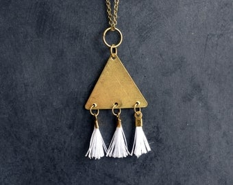 Triangle Necklace With White Tassels, Tassel Pendant, Golden Charm, Long Necklace, Layering Jewelry