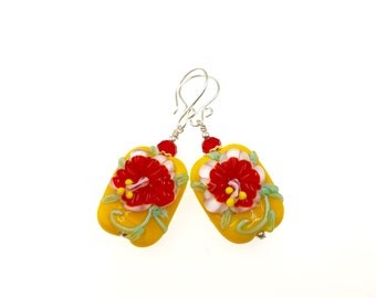 Red Flower Lampwork Earrings, Casual Glass Bead Earrings, Yellow Modern Drop Earrings, Lampwork Jewelry, Pretty Dangle Summer Earrings