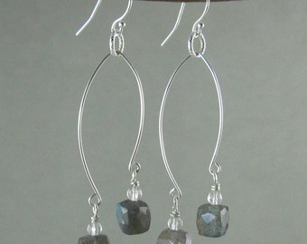 SALE! Transformation earrings with Labradorite & Quartz (346)