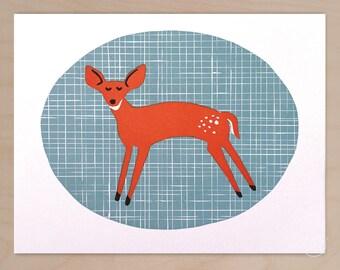 Friendly Fawn, letterpress art print
