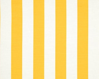 "Custom Fully Lined Drapery Panels 50"" x 90"" Set of 2 CABANA Stripe Cornflower Yellow"
