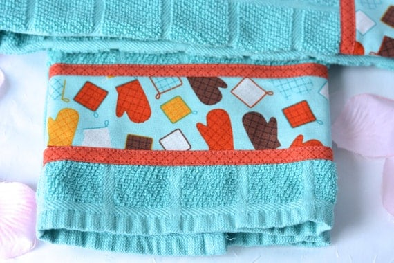 Bridal Shower Gift, 2 Hand Decorated Kitchen Towels, Set of Two Cotton Turquoise Kitchen Towels, Lovely Aqua Dish Cloths