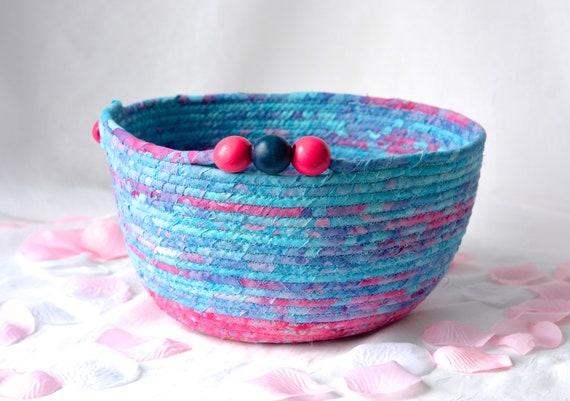 Cute Blue and Pink Basket, Handmade Pink Batik Basket, Key Holder bowl, Modern Mail Holder Bin, Fruit Bowl, Unique Fiber Bowl