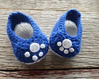 Crocheted Blue and White Baby Booties, Crocheted Baby Booties, Crocheted Cat Paw Booties