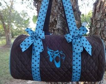 "Personalized Dance Bag  Ballet Bag  BROWN and TURQUOISE   Polka Dot 18"" Duffle Bag"