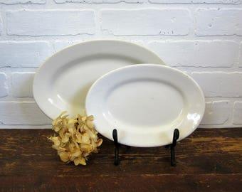"Two Vintage Heavy Ironstone China 8"" and 10"" Oval Shaped Plates Greenwood China Buffalo China"