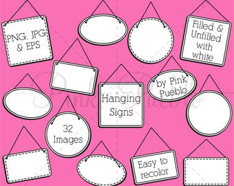 Frame Clip Art, Frame Clipart, Digital Frames, Hanging Signs Clipart Clip Art, Sign Clip Art Clipart - Commercial and Personal Use