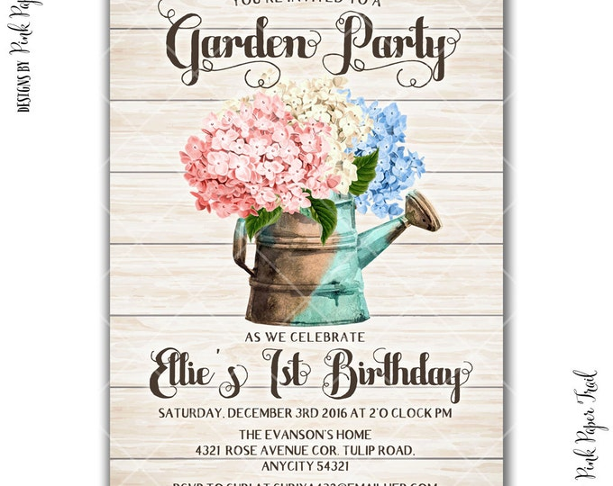 Rustic Garden Birthday Party Invitation, Garden Tea Party Floral Spring Summer Printable Invitation