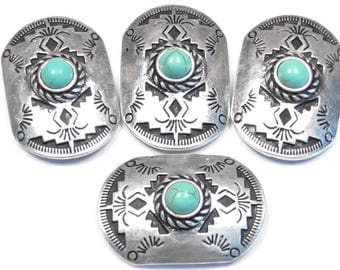 "Four 2 Hole Slider Bead Focals 1 1/4"" Western Concho Faux Turquoise Stone Cabs Antiqued Silver Stamped Aztec Design Southwest Cowboy Tribal"