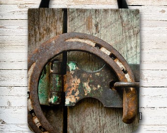 Western Tote Bag, Barnwood Background, Horseshoe on Wood, Wood and Metal, Country Tote Bag, Rodeo Tote Bag, Reusable Bag, Graduation Gift