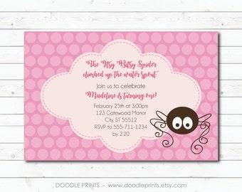 """Itsy Bitsy Spider Invitation, Printable Birthday Invitation, Itsy Bitsy Spider Birthday, Pink Polka Dot Birthday Girl Party 4X6"""" or 5x7"""""""