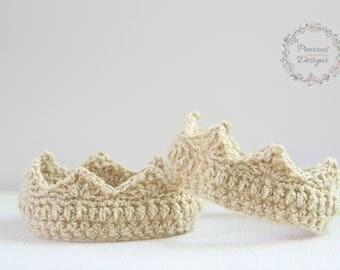 Newborn Crown - Newborn Photo Prop, Crochet Crown, Gold Crown, Baby Crown, Newborn Girl Crown, Newborn Boy Crown, , Prince, Princess, Tiara