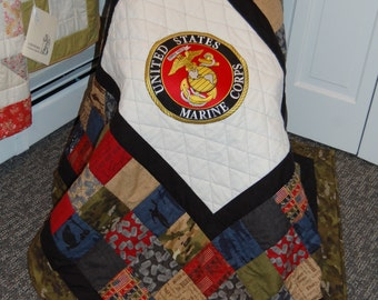 Military Patch Quilt, Marines, Hand Quilted Throw