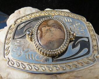 Men's Vintage Western Belt Buckle, Natural Stone Belt Buckle, Cowboy Belt Buckle, Father's Day Gift, Birthday Present For Men