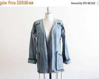 25% OFF Vintage Denim Quilted Jacket / Open Front / Light Denim / Industrial Workwear Look