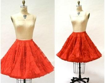 15% OFF SALE Vintage Red Square Dance Petticoat Skirt// Vintage Red Ruffled Crinoline Skirt Medium with Red Ruffled Bloomers Medium
