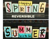 SALE--REVERSIBLE Spring and Summer wood block-Summer fun in the Sun reverses with Happy Spring(paper)