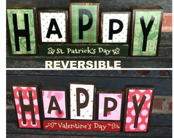 REVERSIBLE Valentine's & St Patrick's day wood blocks-Happy Valentine's day reverses with Happy St. Patrick's Day