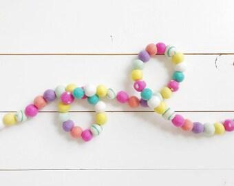Spring Polka Dot & Swirl Felt Ball Garland - 50 Felt Balls