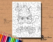 INSTANT DOWNLOAD Cute Cupcake Cat Page Print, doodle art, printable