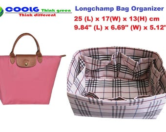 Stylish purse Organizer Insert Fit Longchamp Le Pliage medium Tote Bag / Made to order / Pink Plaid