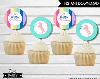 Unicorn Birthday Party Printable Cupcake Toppers by Fara Party Design   Unicorn Party   Girl Birthday   Magical