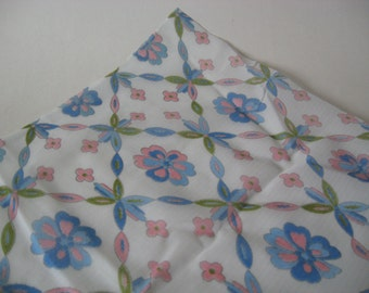 Netted pastel blue pink green floral tulle 60s fabric open weave material two plus yards