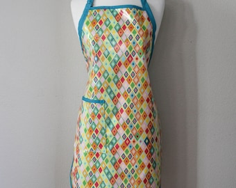 Womens Waterproof Apron Plus Size Apron in Multi Colored Diamonds Print