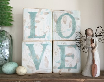LOVE Wood Blocks, farmhouse decor, unique gift, one of a kind.