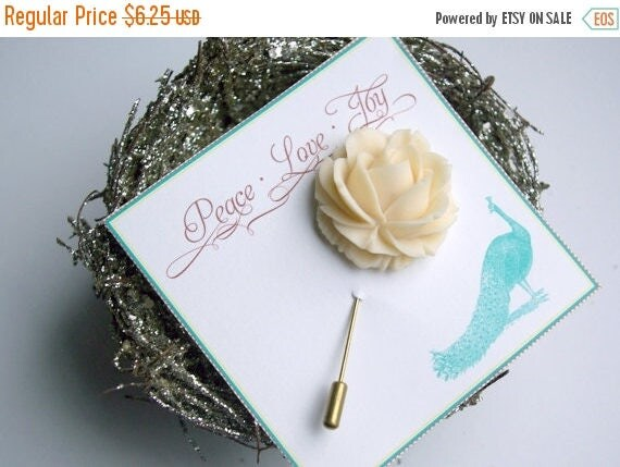 Spring Clean Sale Large Ivory Rose Antique Gold Plated Brass Pin
