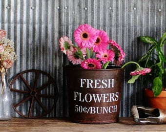 Fresh Flowers Upcycled Farmhouse Style Vintage Bucket