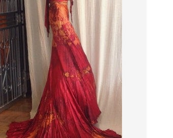 Red gold royal blue silk wedding dress with soho train boho chic bridal gown fall wedding dress mother of the bride maid of honor dress