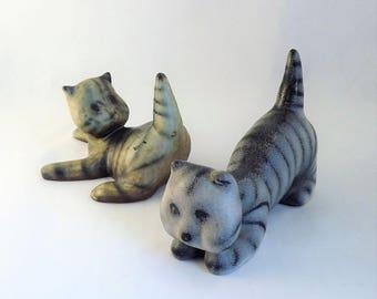 Vintage Michael Schilkin Cat Figurine, Arabia made in Finland Cat, Flat Face Large Crouching Cat Figurine, Matte Stone Glass Cat Figurine