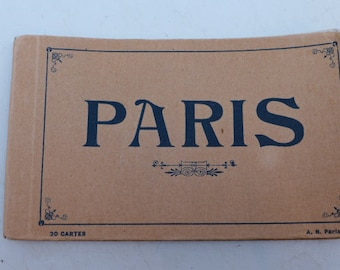 Antique Post Card Album Paris -Vintage 1910s Post Card Set - Paris Post Cards - Post Card Set