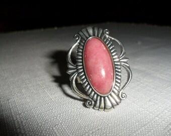 Vintage Sterling Silver Rhodocrosite Ring Size 8.5