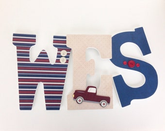 Vintage Truck Themed Custom Wooden Letters for Nursery - Baby Boy Hanging Wall Decor - Transportation Nursery - Car Decor