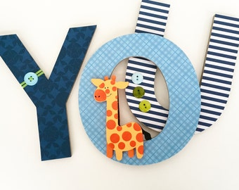 Nursery Wall Name Letters - Navy and Light Blue Theme - Hanging Wood Letters for Boy or Girl Nursery or Bedroom
