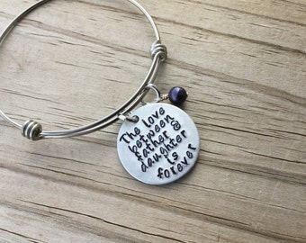 "Daughter's Bracelet- ""The love between father & daughter is forever"" with an accent bead of your choice"