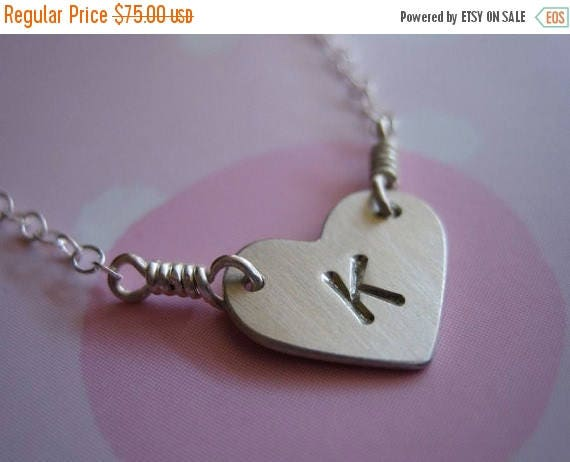 SALE Personalized Custom Initial Monogram Simple Heart Sterling Silver Necklace Hand Stamped Handmade Jewelry Tiny small heart silver dainty