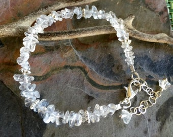Clear Quartz Bracelet, Wire Wrapped Clear Quartz Bracelet,April Birthstone Gemstone Bracelet,April Birthstone Jewelry, Quartz Bracelet