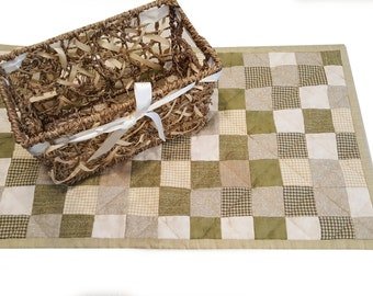 Handmade Quilted Country Patchwork Table Runner or Topper, Kitchen, Bar or Dining Home Decor, beautiful muted green and cream colors