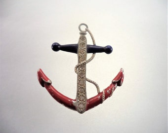 WWII Anchor Sweetheart Pin Navy Brooch Pot Metal Red White Blue Enamel Clear Rhinestones